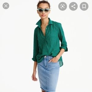 J. Crew gathered popover 0 emerald gingham